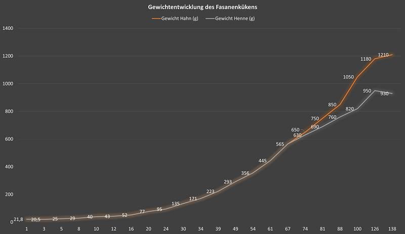 Diagramm über die Gewichtsentwicklung von Fasanenküken in den ersten 138 Lebenstagen