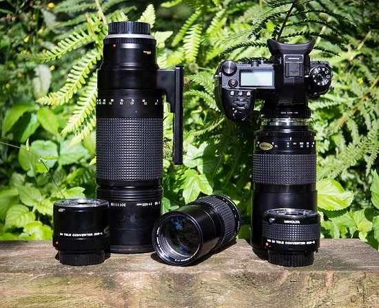 Manuelle Teleobjektive von Minolta MD-Anschluss: MC 400mm/f5.6, MD 200mm/f4, Tokina 500mm/f8 RF und Telekonverter 200-L (ab 300mm) und 300-S (bis 300mm)